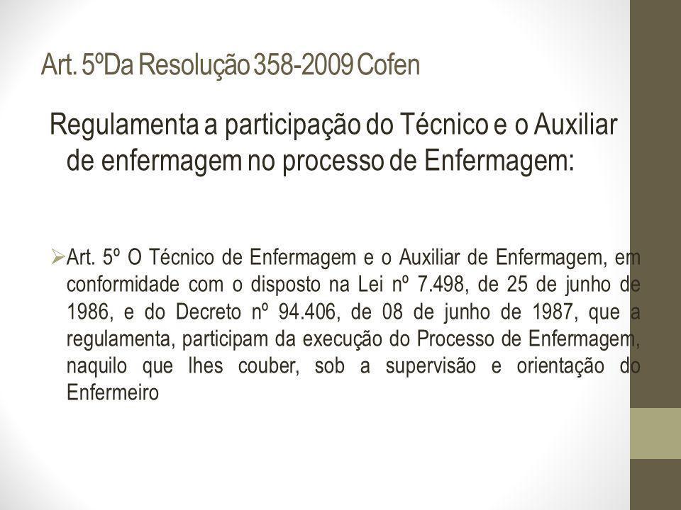 Art. 5ºDa Resolução 358-2009 Cofen