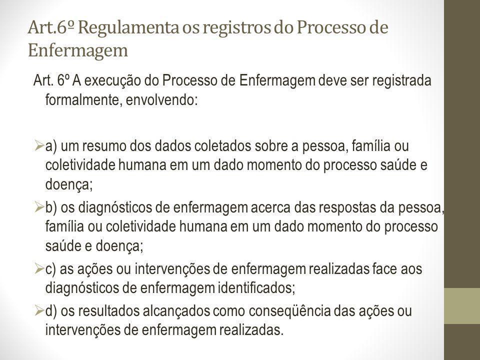 Art.6º Regulamenta os registros do Processo de Enfermagem