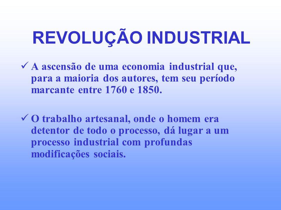 REVOLUÇÃO INDUSTRIAL A ascensão de uma economia industrial que, para a maioria dos autores, tem seu período marcante entre 1760 e 1850.
