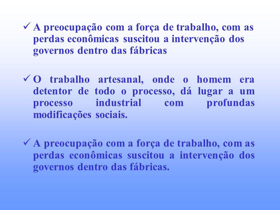 A preocupação com a força de trabalho, com as perdas econômicas suscitou a intervenção dos governos dentro das fábricas