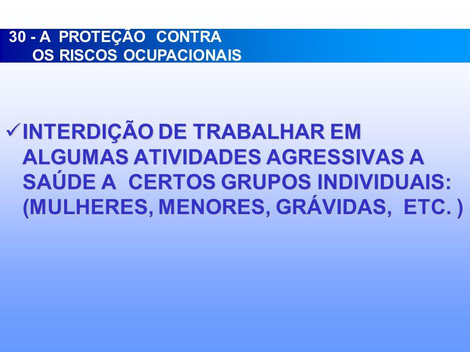30 - A PROTEÇÃO CONTRA OS RISCOS OCUPACIONAIS