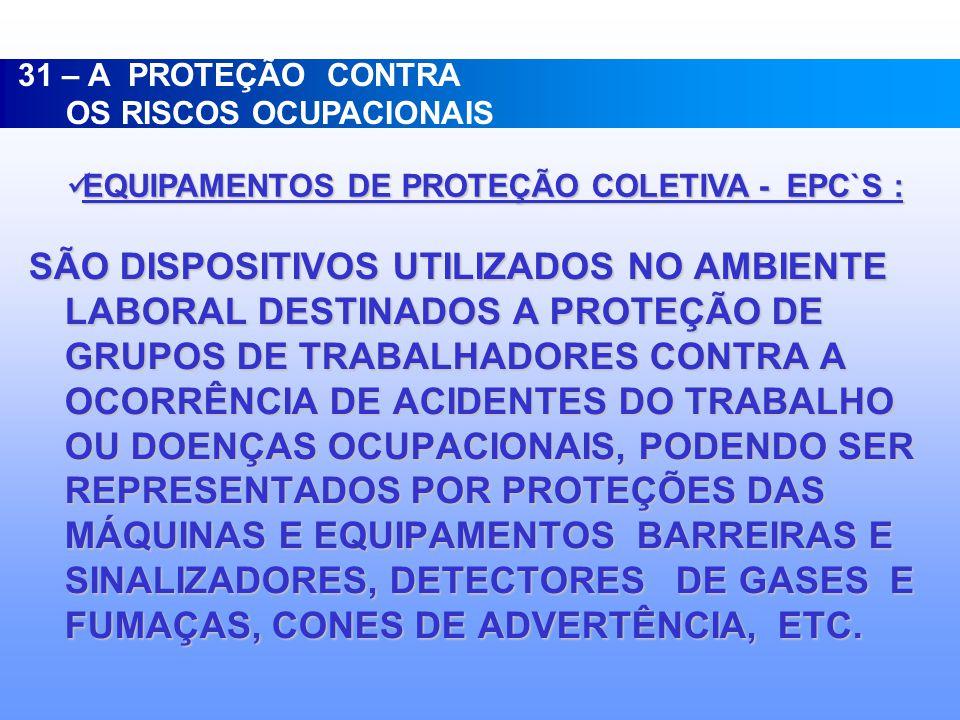 31 – A PROTEÇÃO CONTRA OS RISCOS OCUPACIONAIS