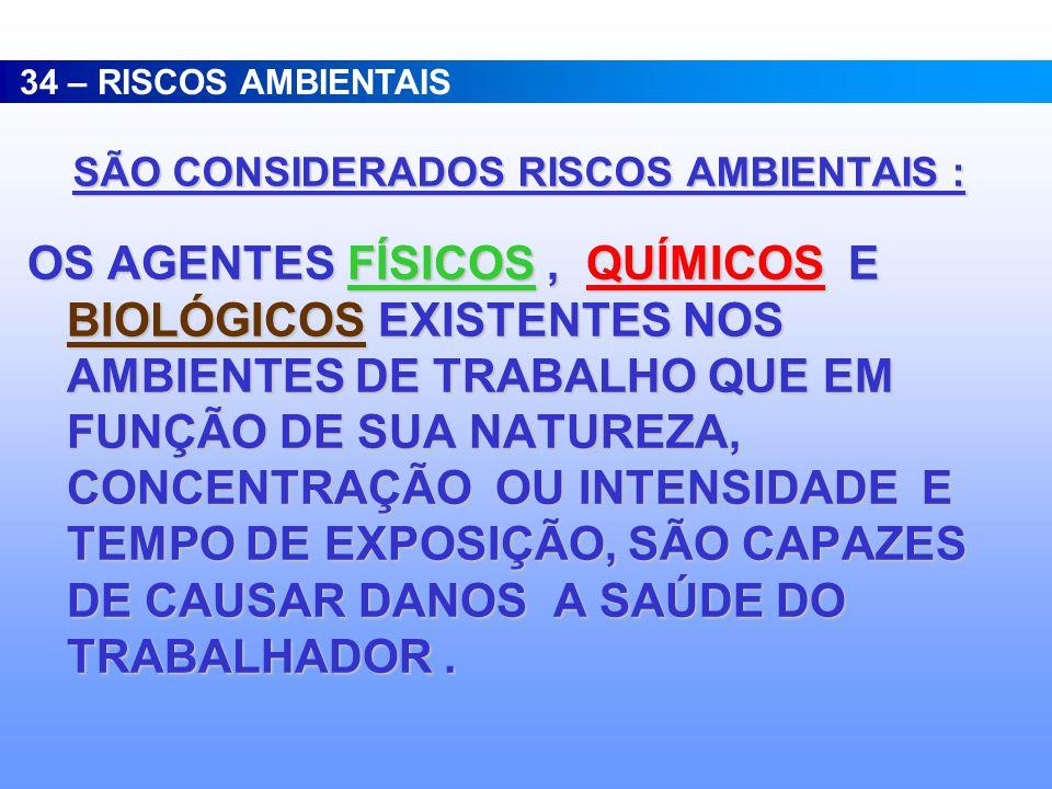 SÃO CONSIDERADOS RISCOS AMBIENTAIS :