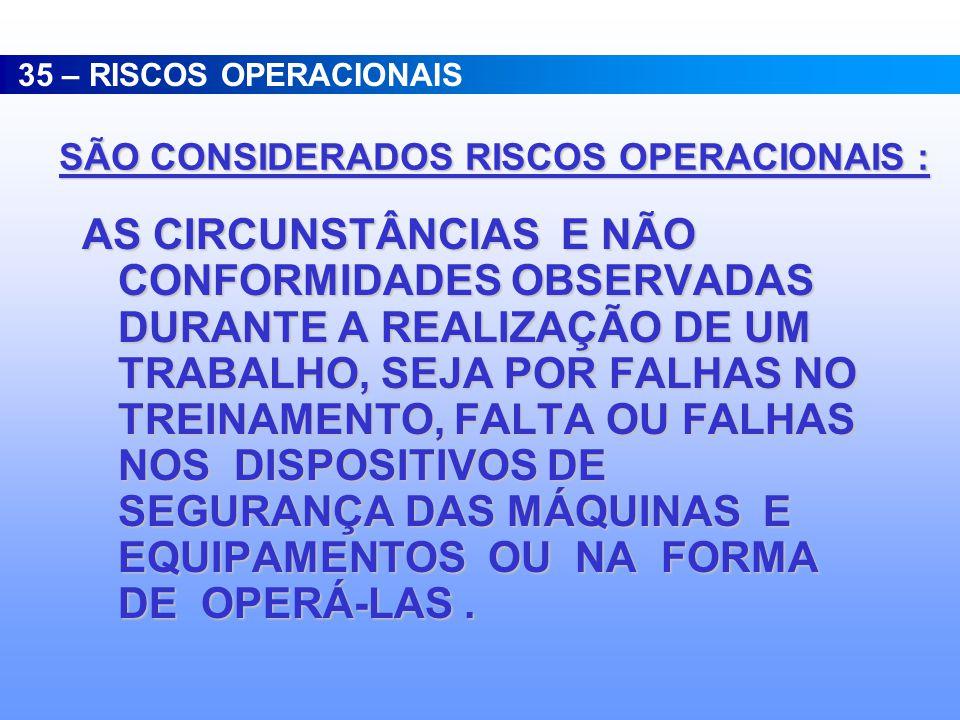 SÃO CONSIDERADOS RISCOS OPERACIONAIS :