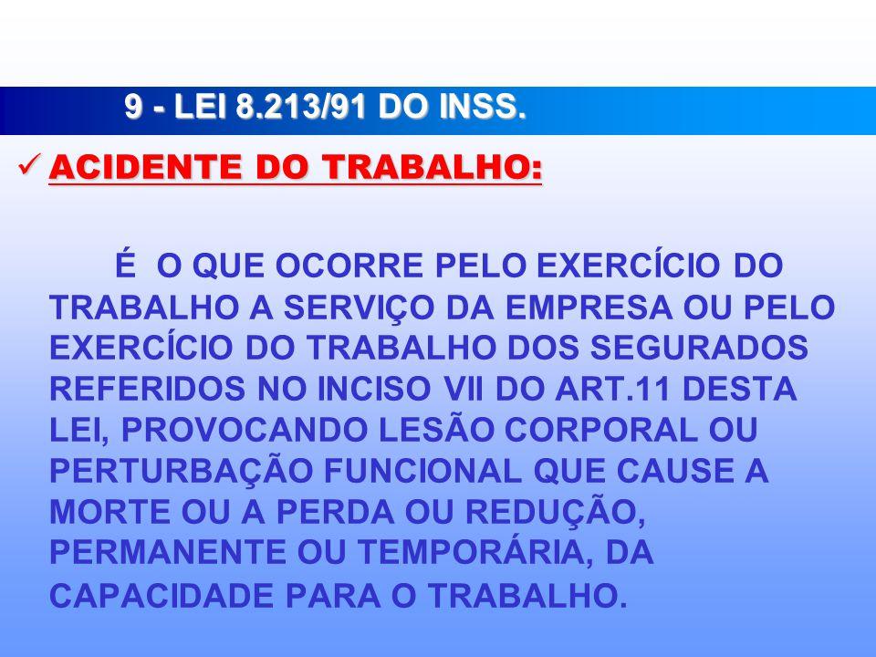 9 - LEI 8.213/91 DO INSS. ACIDENTE DO TRABALHO: