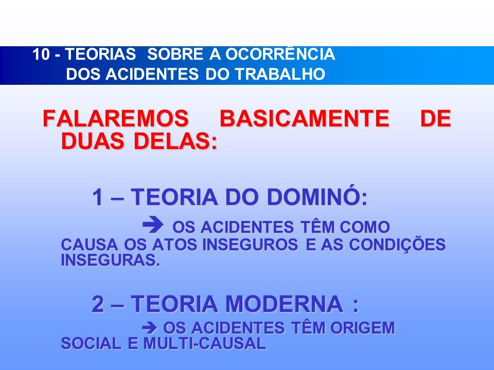 10 - TEORIAS SOBRE A OCORRÊNCIA DOS ACIDENTES DO TRABALHO