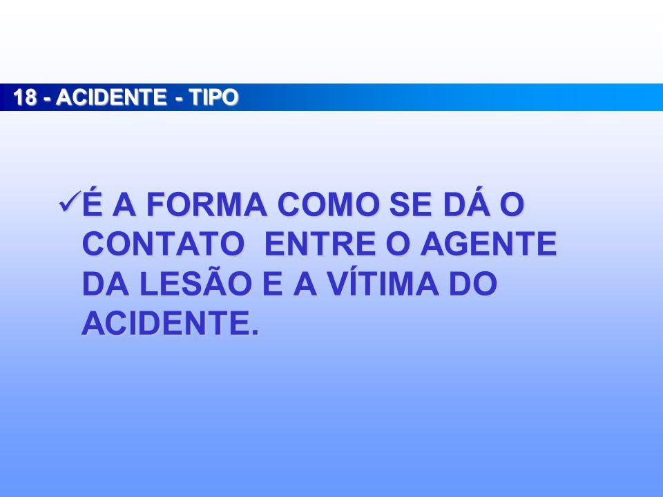18 - ACIDENTE - TIPO É A FORMA COMO SE DÁ O CONTATO ENTRE O AGENTE DA LESÃO E A VÍTIMA DO ACIDENTE.