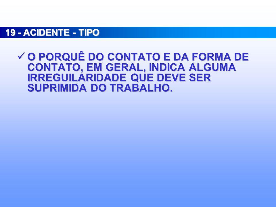 19 - ACIDENTE - TIPO O PORQUÊ DO CONTATO E DA FORMA DE CONTATO, EM GERAL, INDICA ALGUMA IRREGUILARIDADE QUE DEVE SER SUPRIMIDA DO TRABALHO.