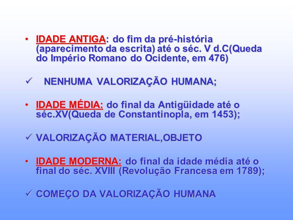 IDADE ANTIGA: do fim da pré-história (aparecimento da escrita) até o séc. V d.C(Queda do Império Romano do Ocidente, em 476)