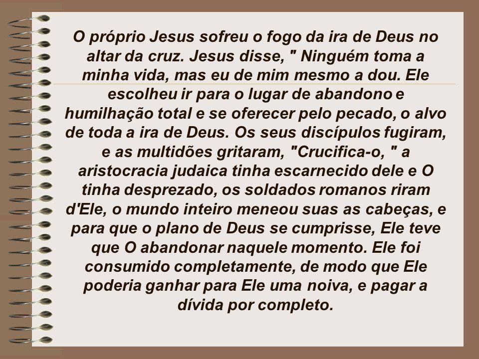 O próprio Jesus sofreu o fogo da ira de Deus no altar da cruz