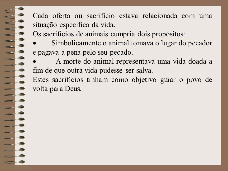 Cada oferta ou sacrifício estava relacionada com uma situação específica da vida.