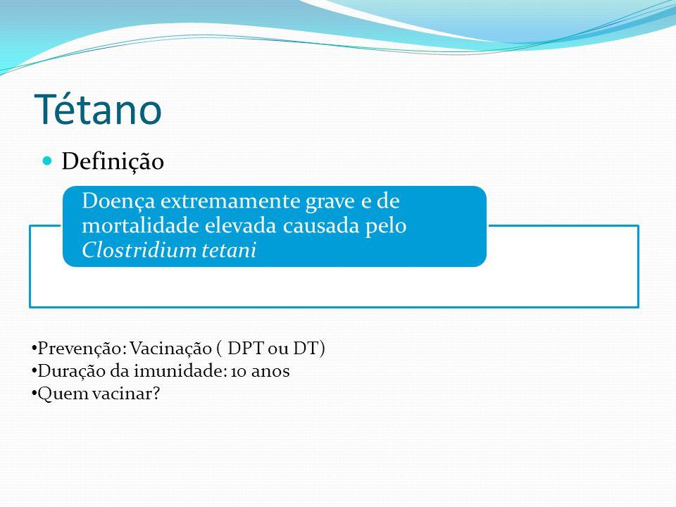 Tétano Doença extremamente grave e de mortalidade elevada causada pelo Clostridium tetani. Definição.