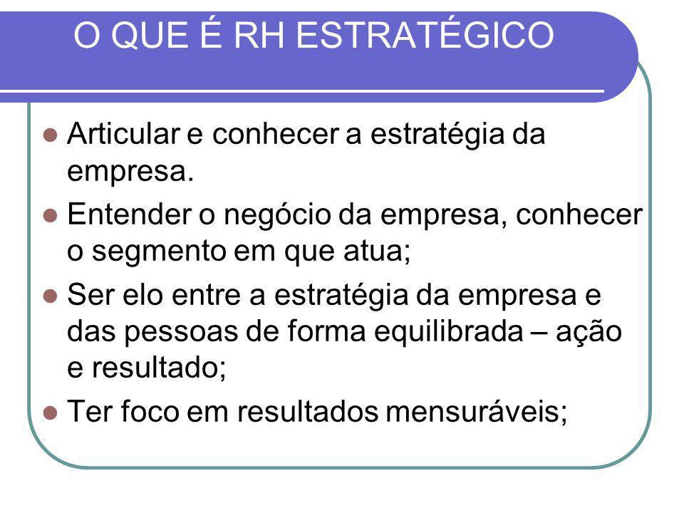 O QUE É RH ESTRATÉGICO Articular e conhecer a estratégia da empresa.