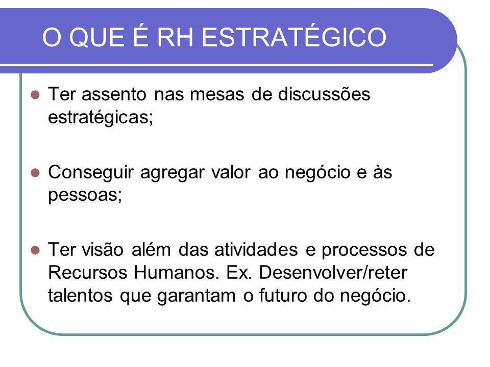 O QUE É RH ESTRATÉGICO Ter assento nas mesas de discussões estratégicas; Conseguir agregar valor ao negócio e às pessoas;
