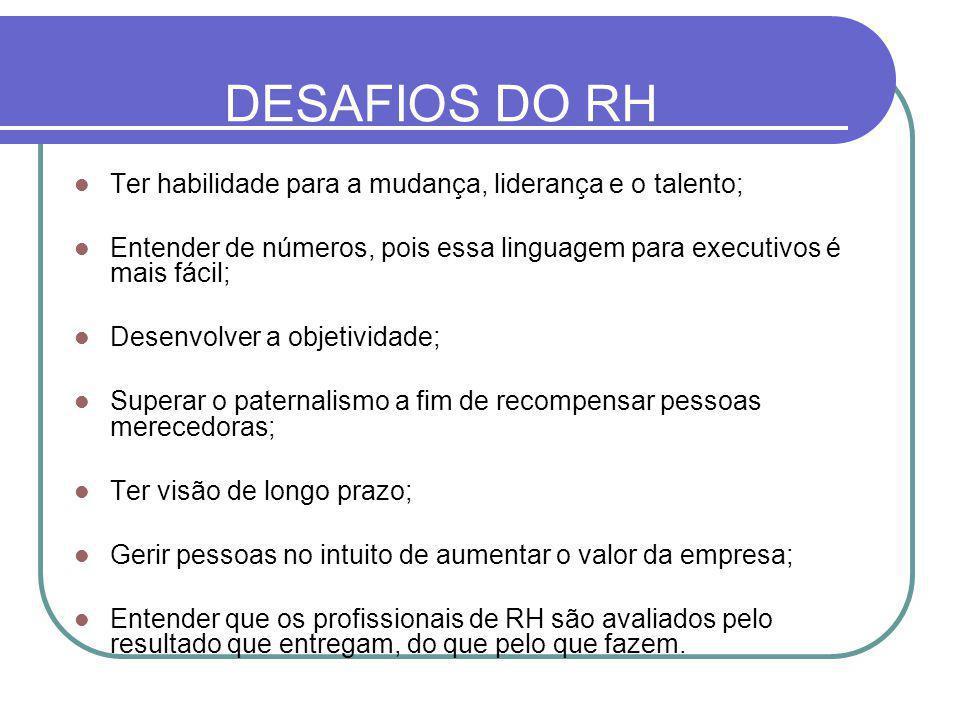 DESAFIOS DO RH Ter habilidade para a mudança, liderança e o talento;