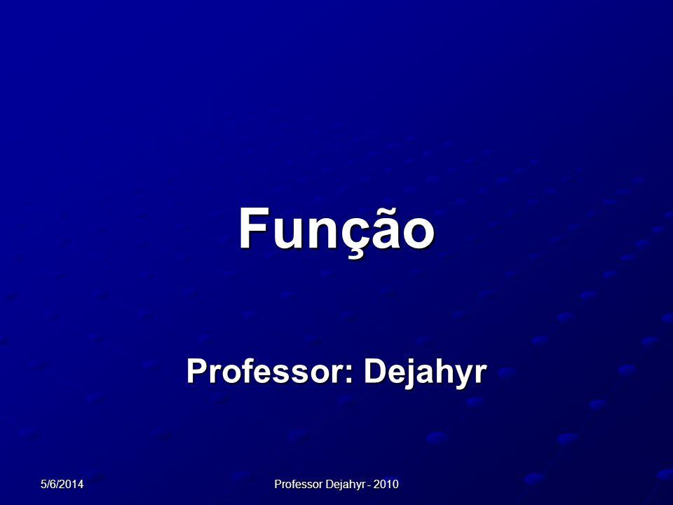 Função Professor: Dejahyr 01/04/2017 Professor Dejahyr - 2010