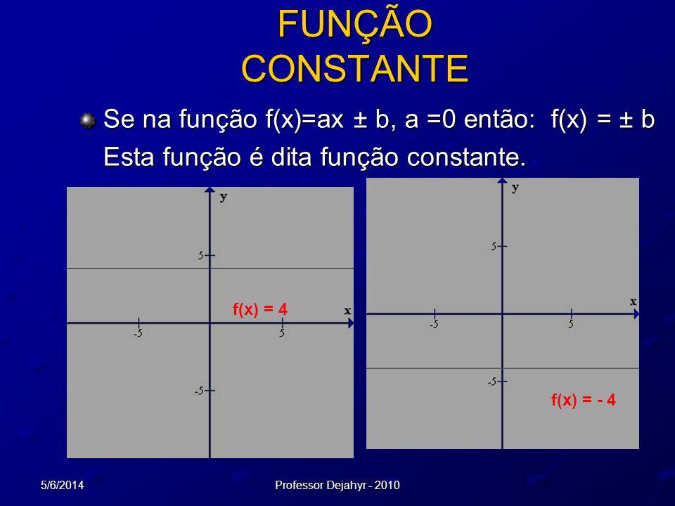 FUNÇÃO CONSTANTE Se na função f(x)=ax ± b, a =0 então: f(x) = ± b