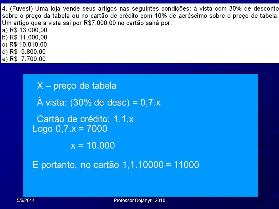 X – preço de tabela À vista: (30% de desc) = 0,7.x