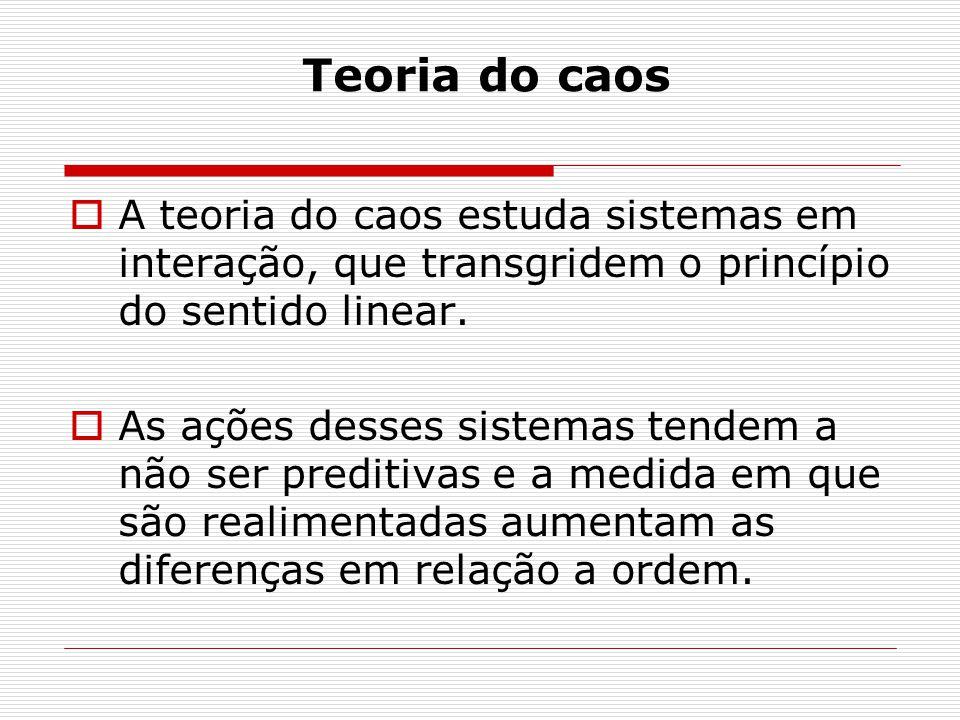 Teoria do caos A teoria do caos estuda sistemas em interação, que transgridem o princípio do sentido linear.