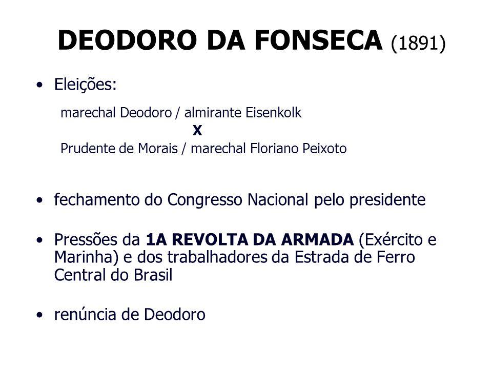 DEODORO DA FONSECA (1891) Eleições: