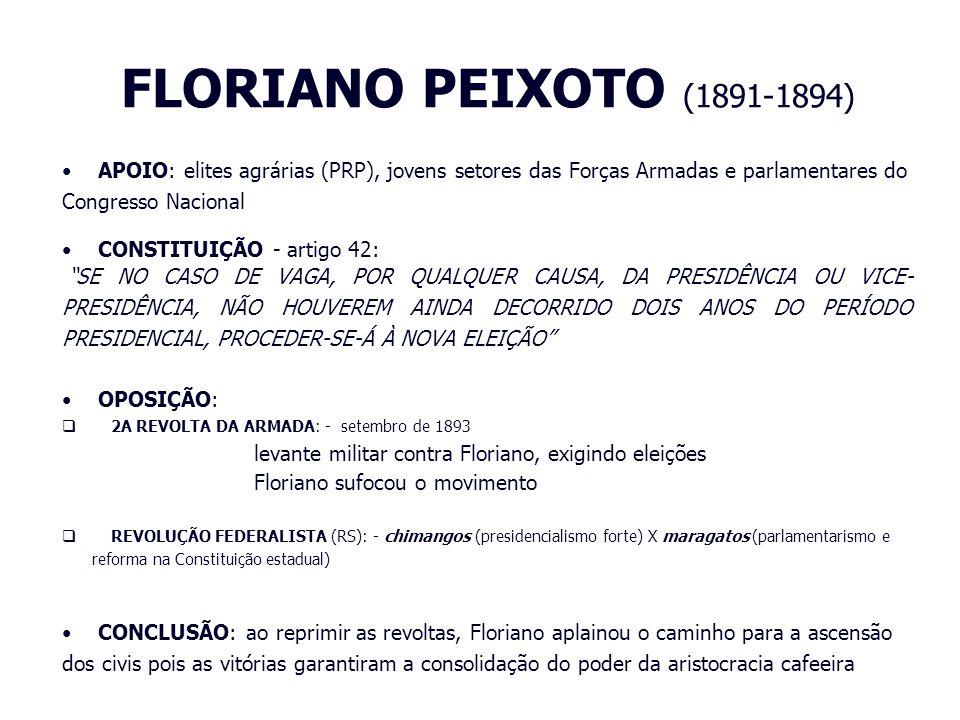 FLORIANO PEIXOTO (1891-1894) APOIO: elites agrárias (PRP), jovens setores das Forças Armadas e parlamentares do Congresso Nacional.