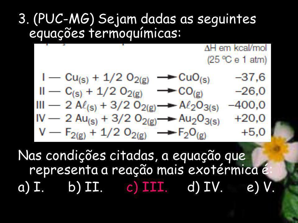 3. (PUC-MG) Sejam dadas as seguintes equações termoquímicas: