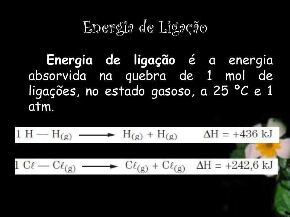 Energia de Ligação Energia de ligação é a energia absorvida na quebra de 1 mol de ligações, no estado gasoso, a 25 ºC e 1 atm.