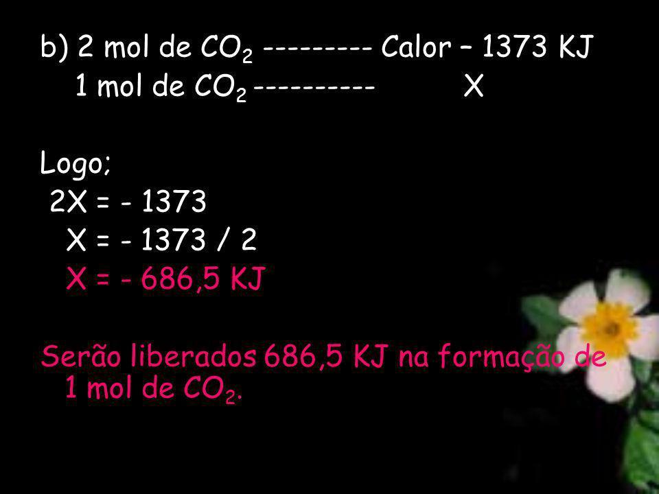 b) 2 mol de CO2 --------- Calor – 1373 KJ