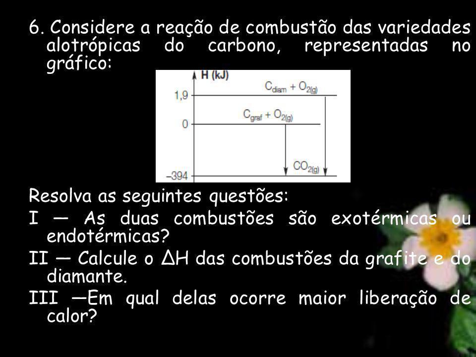 6. Considere a reação de combustão das variedades alotrópicas do carbono, representadas no gráfico: