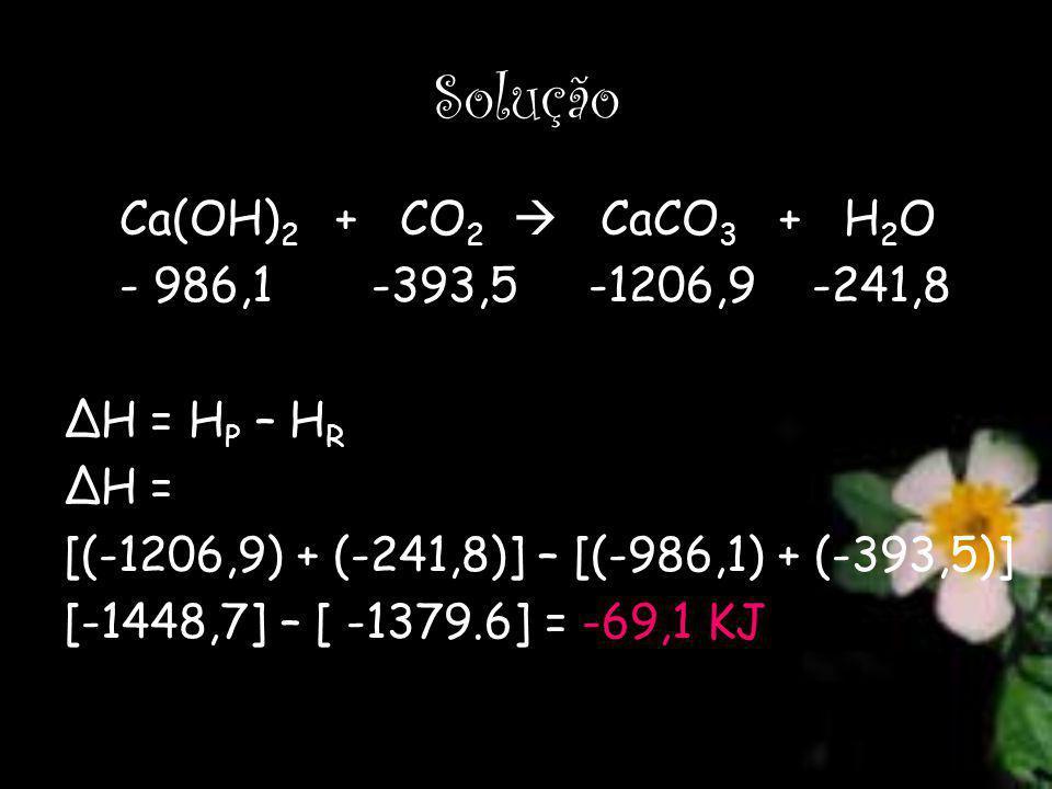 Solução Ca(OH)2 + CO2  CaCO3 + H2O - 986,1 -393,5 -1206,9 -241,8