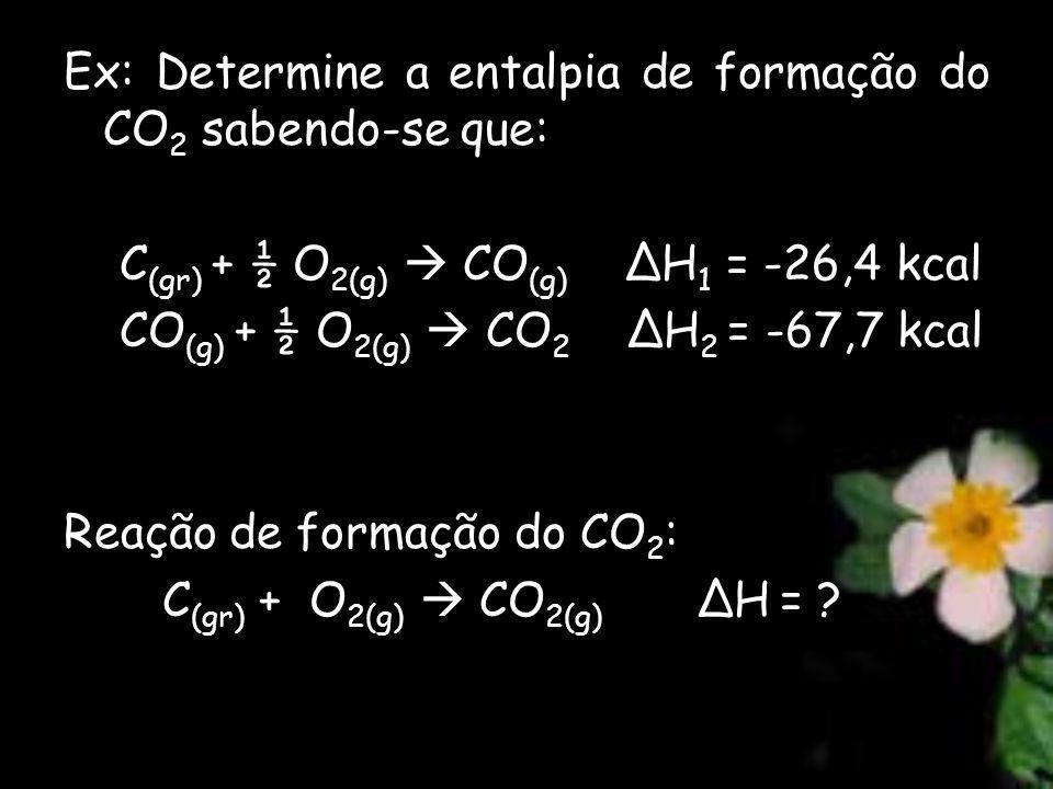 Ex: Determine a entalpia de formação do CO2 sabendo-se que: