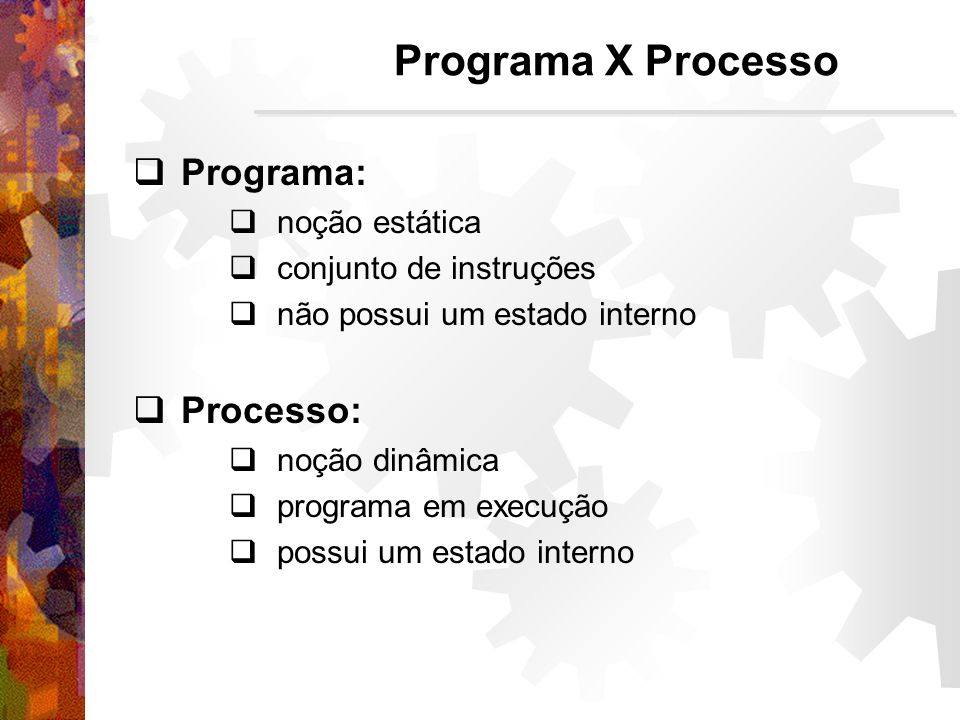 Programa X Processo Programa: Processo: noção estática