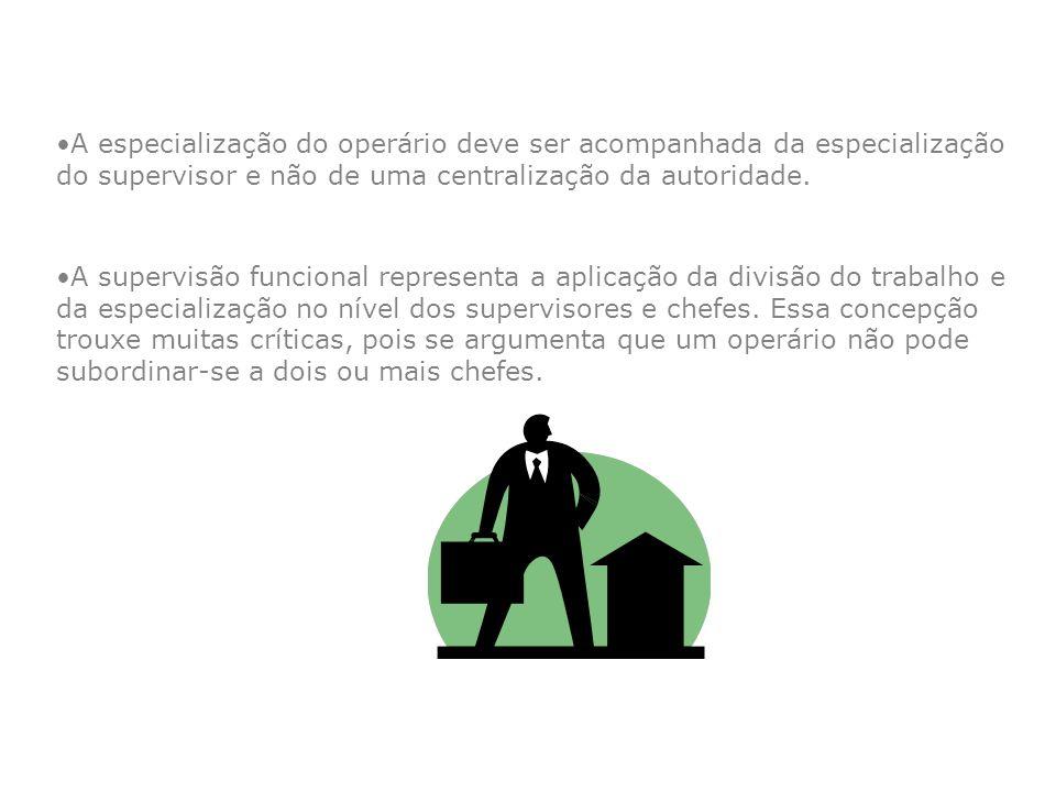 A especialização do operário deve ser acompanhada da especialização do supervisor e não de uma centralização da autoridade.
