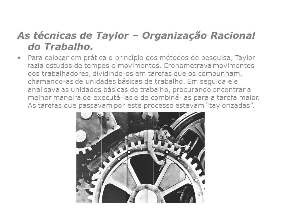 As técnicas de Taylor – Organização Racional do Trabalho.