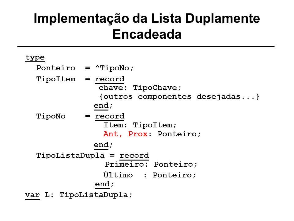 Implementação da Lista Duplamente Encadeada
