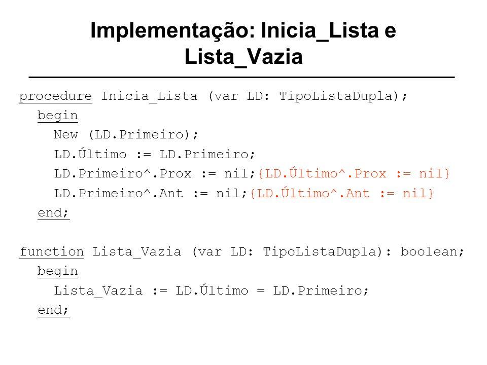 Implementação: Inicia_Lista e Lista_Vazia