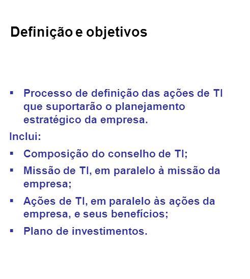 Definição e objetivos Processo de definição das ações de TI que suportarão o planejamento estratégico da empresa.