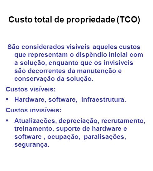 Custo total de propriedade (TCO)