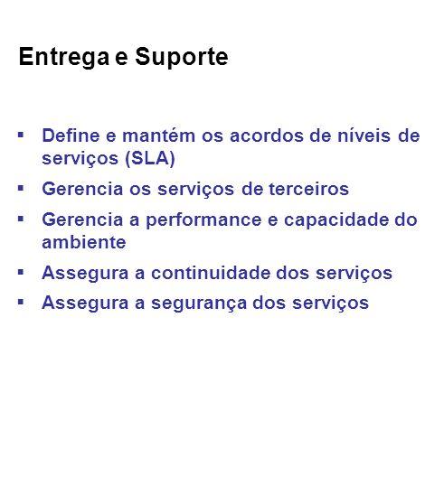 Entrega e Suporte Define e mantém os acordos de níveis de serviços (SLA) Gerencia os serviços de terceiros.
