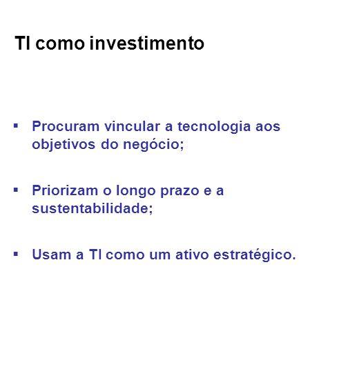 TI como investimento Procuram vincular a tecnologia aos objetivos do negócio; Priorizam o longo prazo e a sustentabilidade;