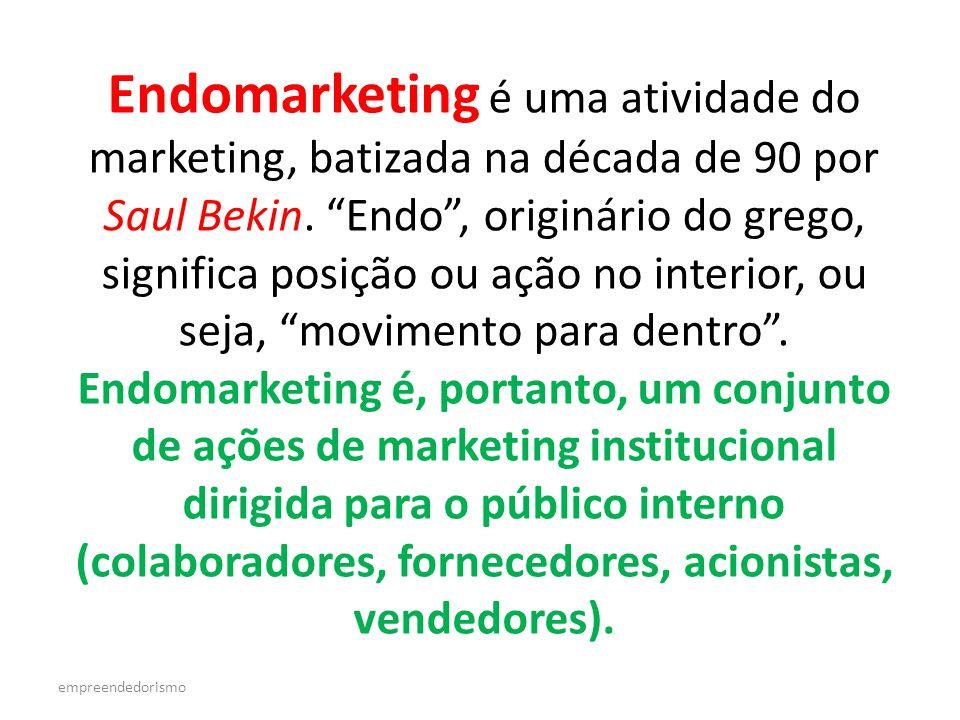 Endomarketing é uma atividade do marketing, batizada na década de 90 por Saul Bekin. Endo , originário do grego, significa posição ou ação no interior, ou seja, movimento para dentro . Endomarketing é, portanto, um conjunto de ações de marketing institucional dirigida para o público interno (colaboradores, fornecedores, acionistas, vendedores).