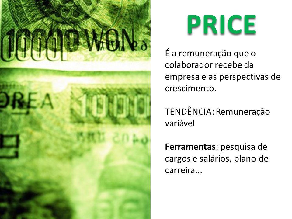 PRICE É a remuneração que o colaborador recebe da empresa e as perspectivas de crescimento. TENDÊNCIA: Remuneração variável.