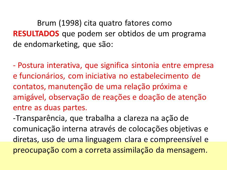 Brum (1998) cita quatro fatores como RESULTADOS que podem ser obtidos de um programa de endomarketing, que são: