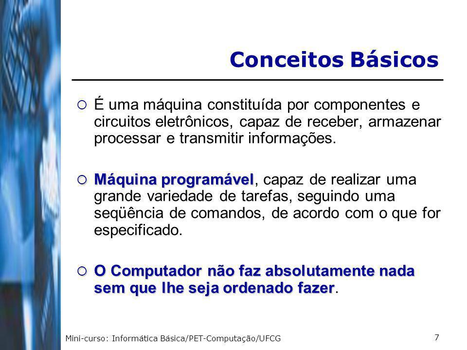 Conceitos Básicos É uma máquina constituída por componentes e circuitos eletrônicos, capaz de receber, armazenar processar e transmitir informações.