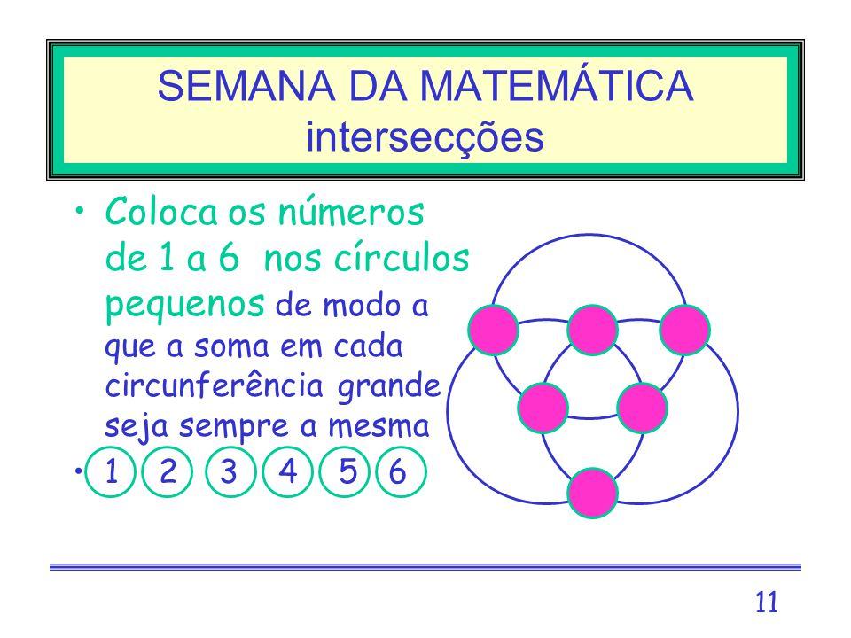 SEMANA DA MATEMÁTICA intersecções