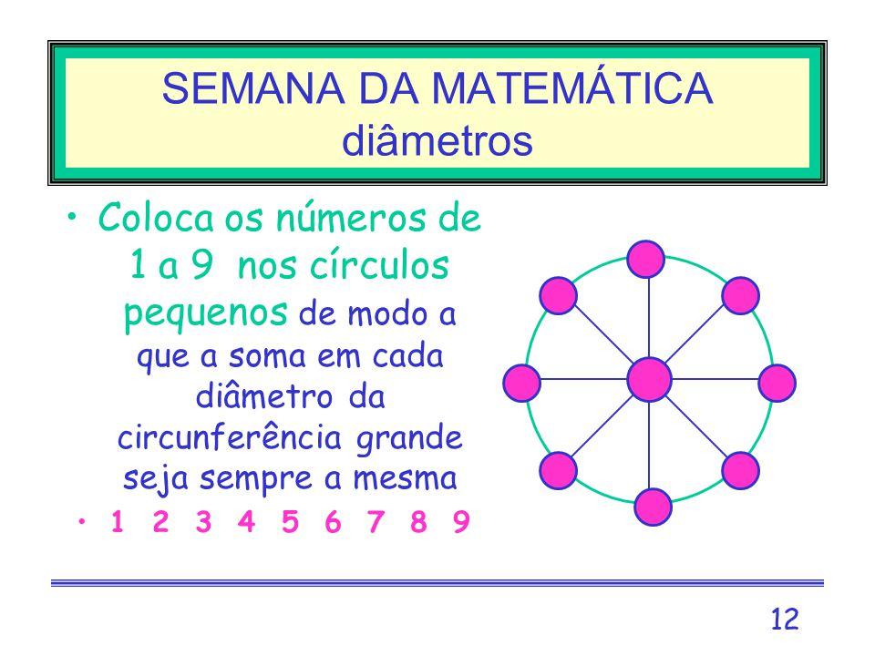 SEMANA DA MATEMÁTICA diâmetros