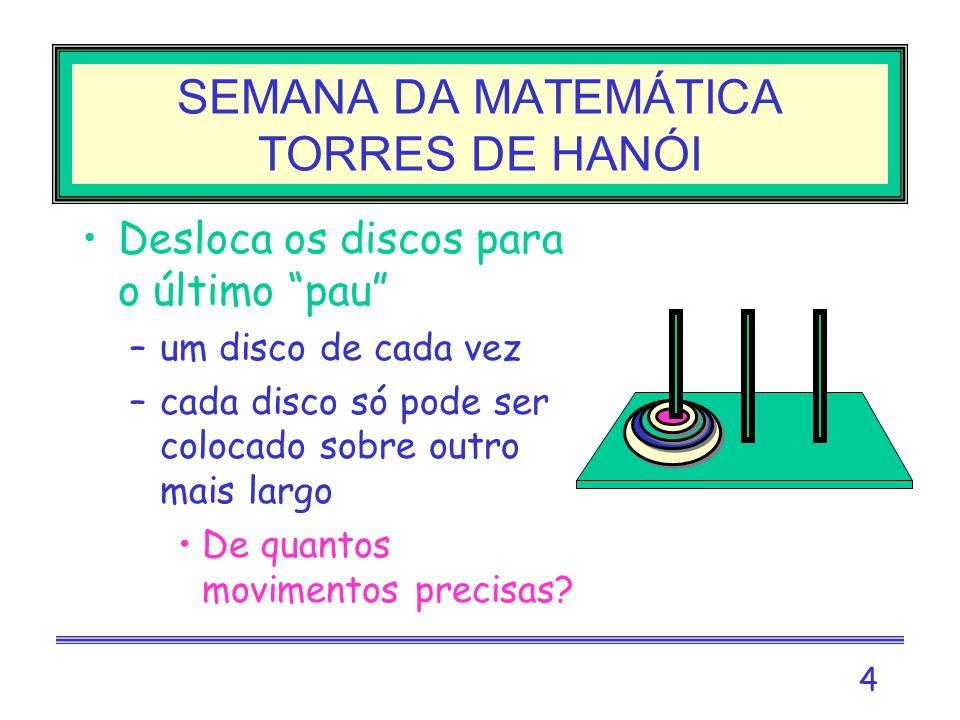 SEMANA DA MATEMÁTICA TORRES DE HANÓI