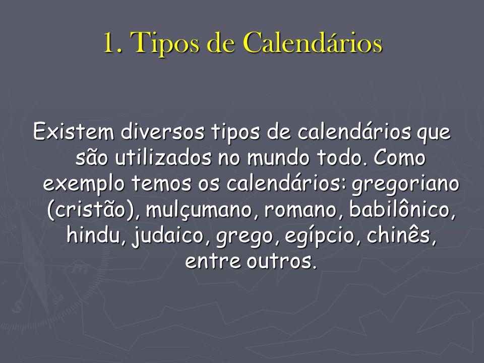 1. Tipos de Calendários