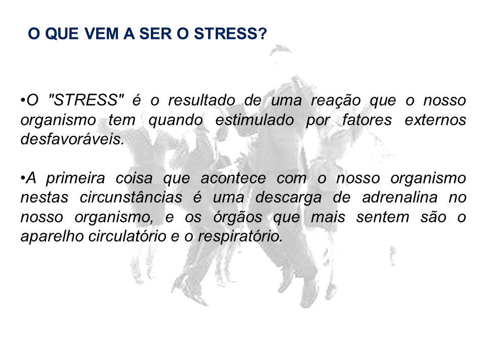 O QUE VEM A SER O STRESS O STRESS é o resultado de uma reação que o nosso organismo tem quando estimulado por fatores externos desfavoráveis.