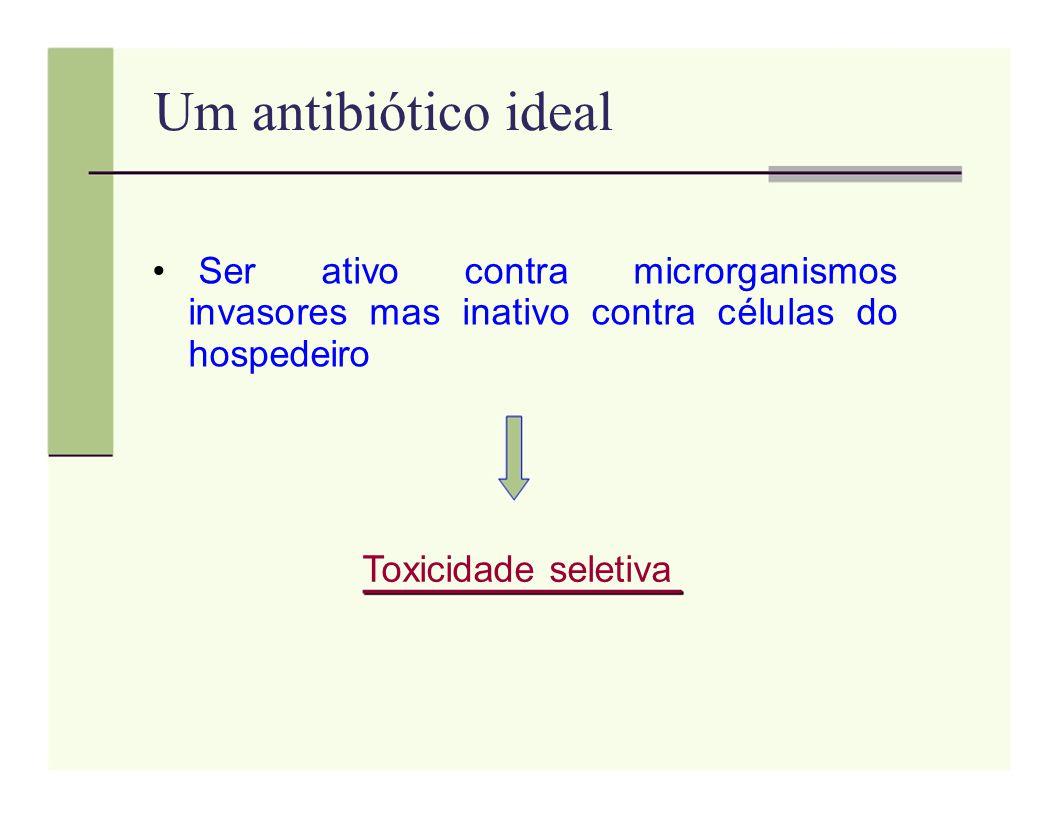 Um antibiótico ideal Ser ativo contra microrganismos invasores mas inativo contra células do hospedeiro.